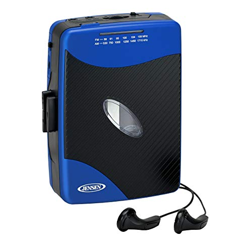 Jensen Portable Stereo Cassette Player with AM/FM Radio + Sport Earbuds (Blue)