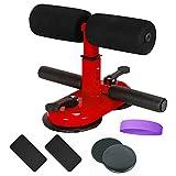 QAZXSW Kit De Barra para Sentar para Piso, Dispositivo De Asistente Mejorado con Rodillo De Masaje, Barra De Ejercicio Portátil con 2 Ventosas, Equipo Ajustable para El Trabajo En Casa, Viajes,Rojo