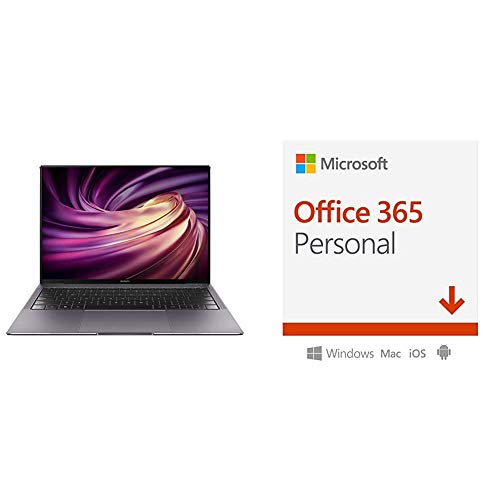 HUAWEI MateBook X Pro, 13.9'' Laptop, Touchscreen (i7-8565U, NVIDIA GeForce MX250, Huawei Share OneHop, Windows 10 Home) + Microsoft Office 365 Personal, 1 Anno PC/Mac, Codice d'Attivazione Via Email