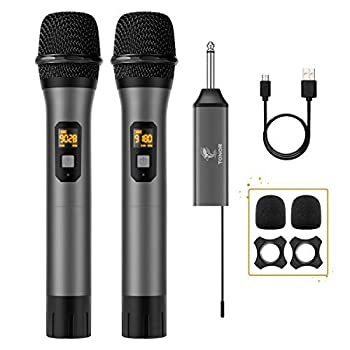Wireless Microphone TONOR UHF Dual Cordless Metal Dynamic Mic System with Rechargeable Receiver for Karaoke Singing Wedding DJ Party Speech Church Class Use 200ft  TW-630
