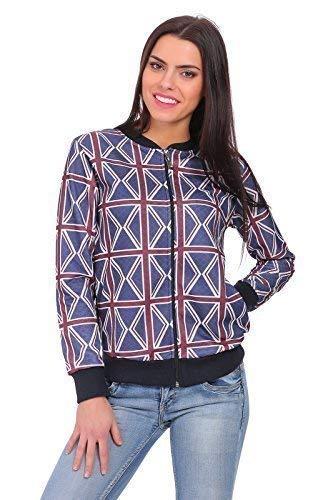 FUTURO FASHION® dames trui met ritssluiting met Engeland vlag patroon gewatteerd materiaal trainingspak Top Baseball Jacket Maat 8-14 UK FZ70