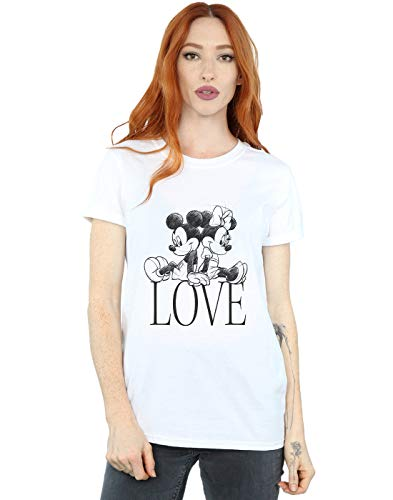 Disney Mujer Mickey and Minnie Mouse Love Camiseta del Novio Fit Blanco XX-Large