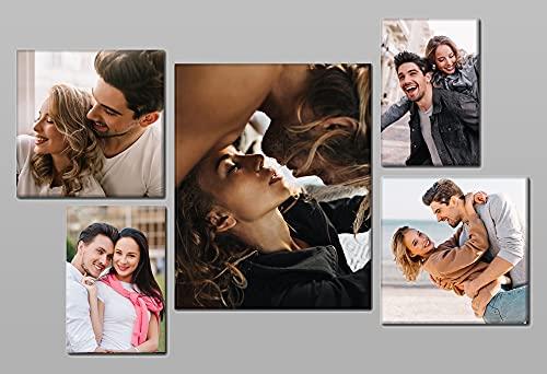 Quadro personalizzato con 5 foto su tela Set Gallery cm. 100x70 diviso su 5 pannelli in legno - Idea Regalo Dimensione cm. 100x70 personal