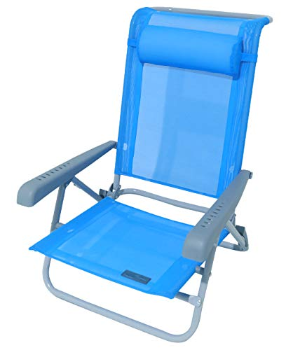 Meerweh Strandstuhl, verstellbar saphir blau Armlehne grau