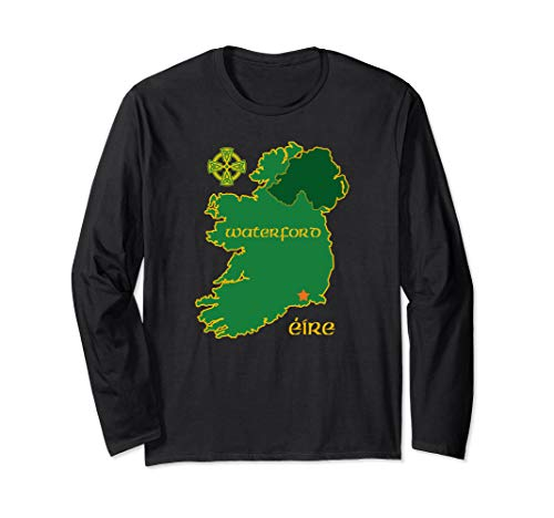 Waterford Ireland Vacation Travel Map Tourist Celtic Cross Long Sleeve T-Shirt