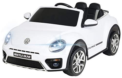 Actionbikes Motors Kinder Elektroauto VW Beetle Käfer - Lizenziert - 2 x 40 Watt Motoren - 2,4 Ghz Fernbedienung - Eva Vollgummi Reifen (Weiß)