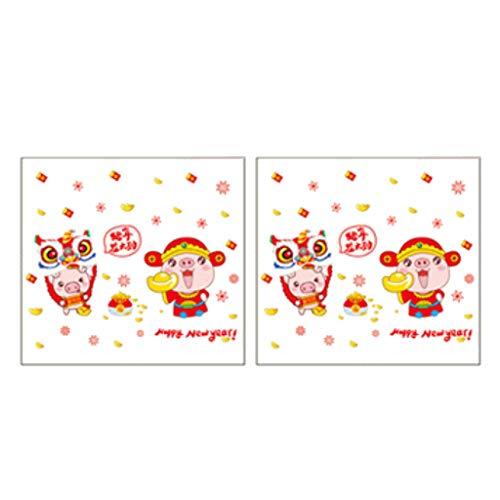 Homyl 4pcs Stickers Muraux Festival Du Printemps Chinois Pour Fenêtre De Bricolage - 2pcs