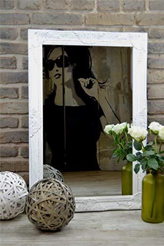 Livitat® Wandspiegel Spiegel Badspiegel barock antik Weiß 90 x 60 cm LV9023