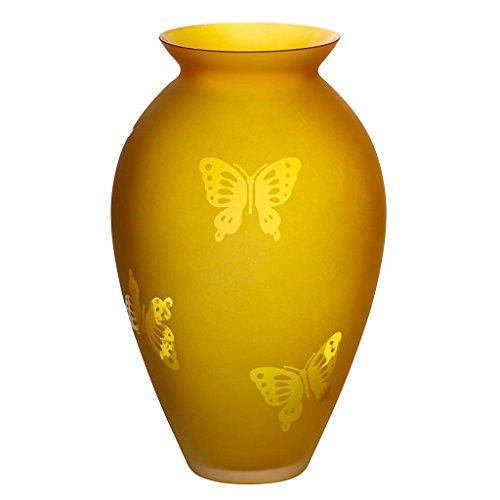 CRISTALICA Blumenvase Bouquet Vase Glas Vase Lemon Butterfly Gelb Orange 25 cm Tischvase Tischdeko Hochzeitdeko