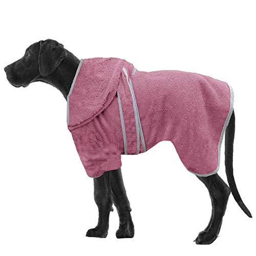 HOMELEVEL Hunde Bademantel aus 100% Baumwolle für Weibchen und Männchen schnell trocknend Hund Bademantel Handtuch Altrose/Grau XL