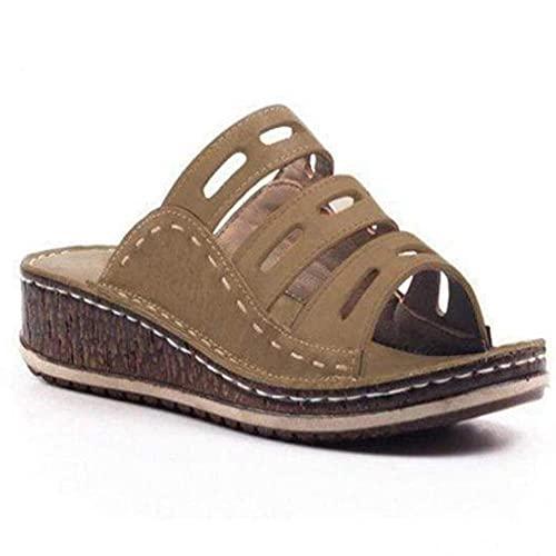WoJogom Sandalias De Playa De Verano para Mujer para Mujer Zapatillas De Tacón con Pendiente Transpirables Antideslizantes Resistentes Al Desgaste Marrón