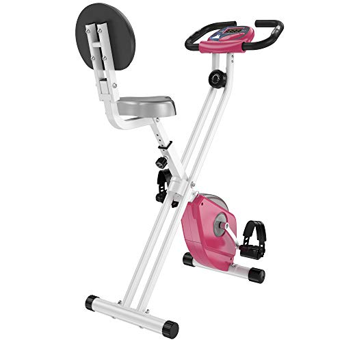 HOMCOM Bicicleta Estática para Ejercicios Profesional Bicicleta Vertical Plegable de Forma X con 8 Niveles Resistencia Magnética Asiento con Altura Ajustable Acero 43x97x109 cm Rosa ✅