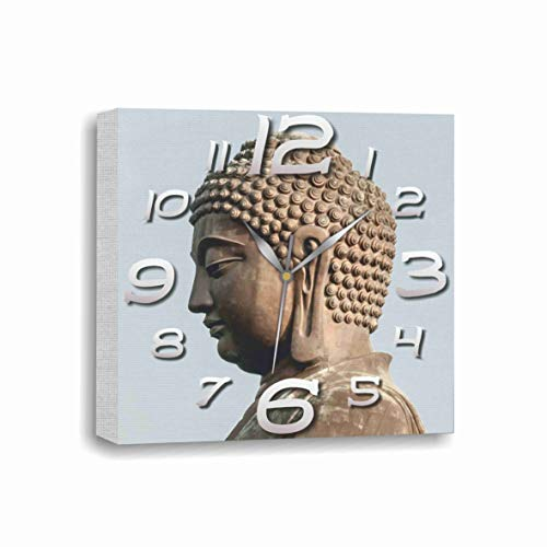 "Exclusive Wall Clock 11.8"" Inches  - Picture on Canvas Buddha Statue of India – Modern Art Decoration Clock for Home and Office, Kitchen Bedroom, Living Room, Original Present for Every Occasion. ."