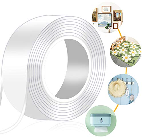 MIMEIMIAI Nano Adhesive Tape, Strong Double Sided Tape Heavy Duty Sticky Pad Reusable Transparent Wall Tape Anti-Slip Strips Multi-Functional Tape for Carpet, Picture Hanging