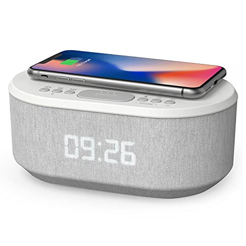 Bedside Radio Alarm Clock with USB Charger, Bluetooth Speaker, QI Wireless Charging, Dual Alarm Dimmable LED Display (White)