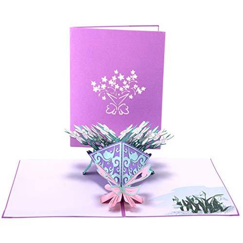 Outgeek Biglietto Festa della Mamma Biglietto per La Benedizione della Cartolina D'Auguri in 3D Creative Gardenia