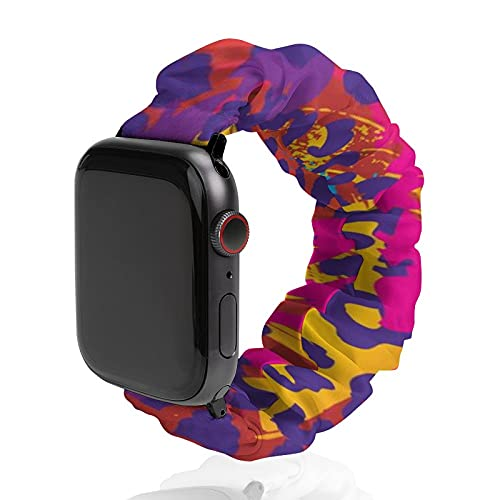 XUJ YOGA Scrunchie Apple Watch Band Elastic Watch Straps Neon Splatter Animal Print Compatible with Apple Watch Band for Unisex (38mm-40mm)