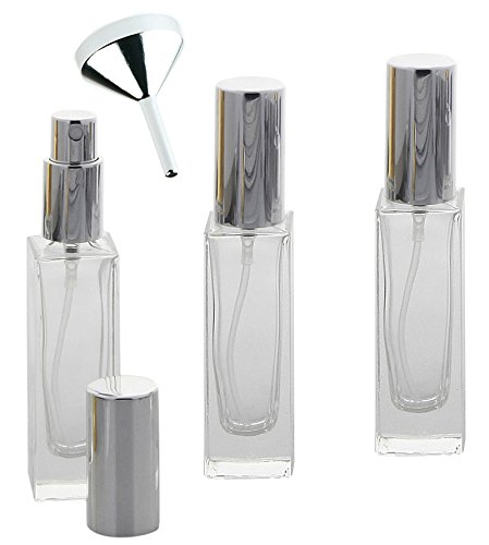 Glas-Flakon mit Parfüm-Zerstäuber in Silber, 30ml Kosmetex Gerade Linie, für Colognes, leer, 3x Silber +Trichter
