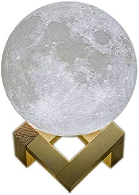 Hai Ying    led nachtlicht 3D Print Moonlight Schlafzimmer nachttischlampe Einfach (Gre  Diameter10cm)