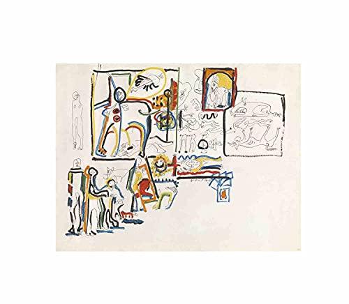 Jackson Pollock Animales y figuras Cuadros Para Dormitorios Modernos Lienzos Decorativos Cuadros Decorativos Hogar Decoracion Salon Arte De La Pared De La Lona(45x60cm18x24pulgadas, sin marco)