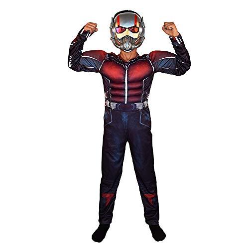 FINDPITAYA Verkleidung Marvel's The Avengers Kinder Ant Man Muskel Cosplay Kostüm mit Maske Blau (S)