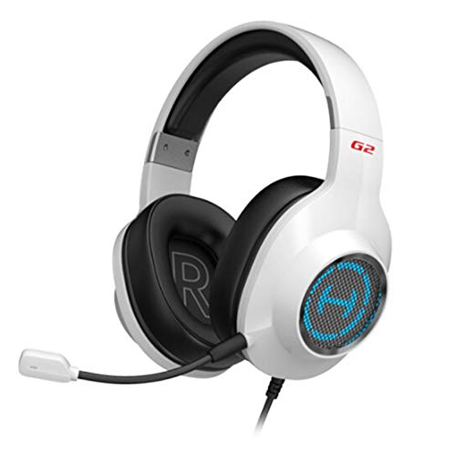 Auriculares PS4, Auriculares para Juegos con Sonido Envolvente Estéreo con Micrófono, Micrófono Unidireccional Desmontable, Adecuado para PC PS4 Xbox One Mac Nintendo Switch Tablet Smartphone.-White