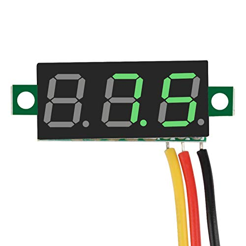 cersalt Panel de Voltaje, voltímetro de CC, liviano, portátil de 0.28 Pulgadas para Autos para niños, para Bicicletas eléctricas para Motocicletas, para monitorear el Voltaje de la(Yellow)