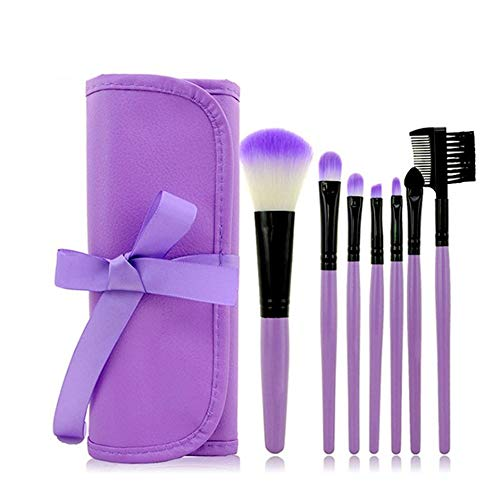 Brosse de maquillage 7pcs violet brosse de maquillage, poignée en bois y compris la Fondation mixte blush correcteur oeil liquide crème cosmétique brosse ensemble