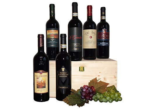 Assortimento 6 Vini Provenienti dalle Cantine Della Toscana – Idea Regalo per gli Amanti dei Migliori Vini Toscani - Cod 7a