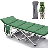 Lilypelle Folding Camping Cot, Double Layer Oxford Strong Heavy Duty Sleeping Cots with Carry Bag, Portable Travel Camp Cots for Home/Office Nap and Beach Vacation (Green with Mattress)