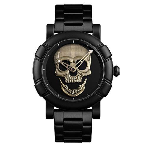 Armbanduhren,Persönlichkeit Dreidimensionale Schädel Großes Zifferblatt Quarzuhr Dunkle Boten Herren wasserdichte Uhr, Grüne Patina
