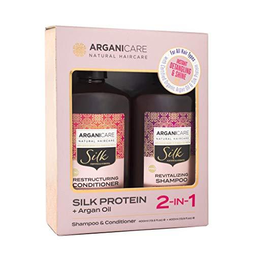 Arganicare Natural Haircare Shampoo & Conditioner,silk Protein+ Argan Oil, 400ml
