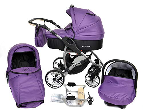ALLIVIO, 3-in-1 Travel System with Baby Pram, Car Seat, Pushchair & Accessories (3in1 Travel System -Baby tub, Sport seat, Car seat, Black & Violet)