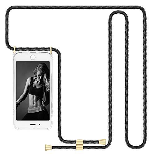 Imikoko Handykette Hülle für iPhone 7 Plus/8 Plus(Nicht für iPhone 7 / iPhone 8) Necklace Hülle mit Kordel zum Umhängen Silikon Handy Schutzhülle mit Band - Schnur mit Case zum umhängen Schwarz