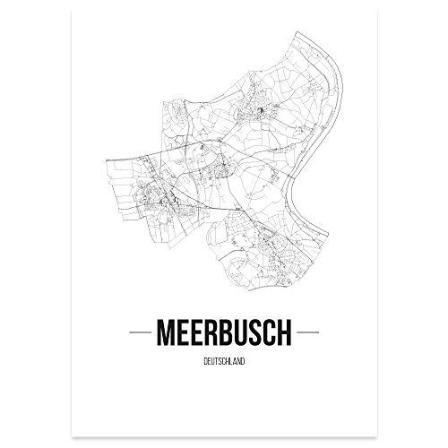 JUNIWORDS Stadtposter - Wähle Deine Stadt - Meerbusch - 60 x 90 cm Poster - Schrift B - Weiß