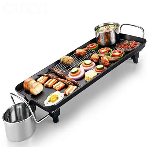 Yangyang Elektrogrill Tischgrill elektrisch mit 4 – 8 Personen BBQ Tisch Grill - Indoor Teppanyaki Grill Platte | Grills Tischgrill Elektro Grillplatte elektrisch für Balkon