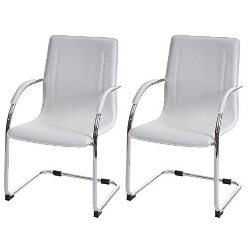 2x silla de conferencia Samara, silla de visita Cantilever, piel sintética ~ blanco