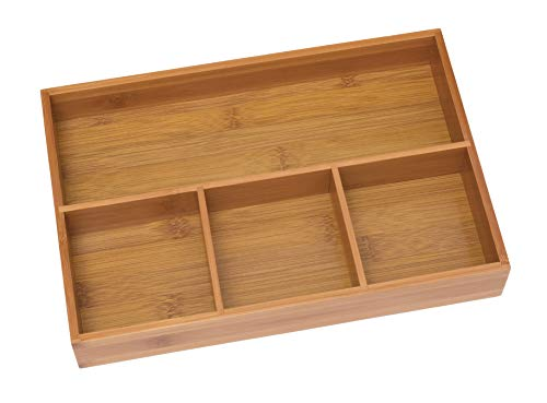 Lipper International 824 Bamboo Wood 4-Compartment Organizer Tray