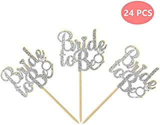 DOYOLLA 24pcs Silver Glitter Bride to be Cupcake Toppers Wedding Bridal Shower Decors