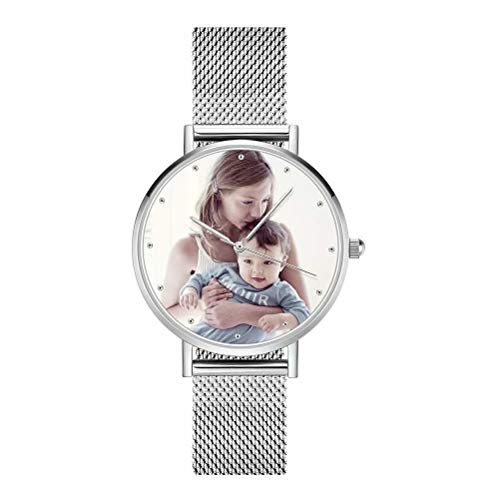 Reloj gráfico Personalizado de Cuarzo de Cara de Foto. Relojes de Pulsera de Acero Inoxidable, Foto Personalizada. Cualquier Foto graba Texto en la Parte Posterior