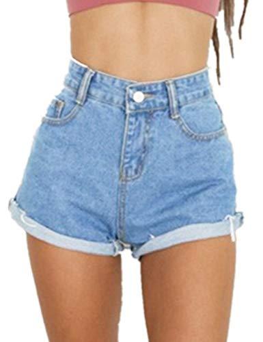 Haola Women's Juniors Vintage Denim High Waisted Folded Hem Jeans Shorts Light Blue M