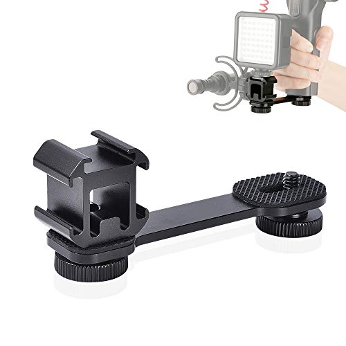 UTEBIT Triple Cold Shoe Mount Universal Extension Bracket Flash Bracket Camera Mic Stand and Light Mount Plate Adapter for LED Video Light DSLR Phone Gimbal Stabilizer