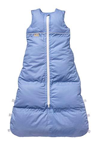 Set ARO Artländer Daunenschlafsack mit Stoffwindel von Kinderhaus Blaubär/Winterschlafsack längenverstellbar/Baby-Schlafsack mit Premiumdaunen, Größe:110 (100/90), Design:azur uni