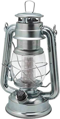 Raelf Lámpara de queroseno portátil vintage con ahorro de energía, interruptor de salida y atenuador, linterna de camping con pilas, metal, ajustes de atenuación variables, color plateado
