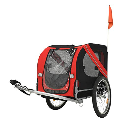 Nurxiovo Pet Trailer Bike Collapsible Dog Cargo Cart, Quick Release Wheels, Easy Connect to Bicycles, Safety Flag for Small and Large Pets (Black + Red)