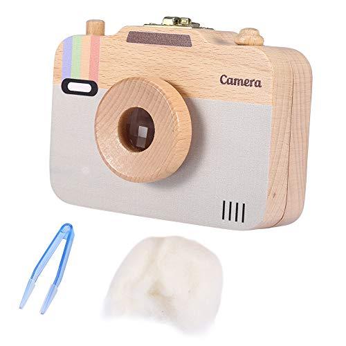 Caja de almacenamiento de madera, estuche lindo de la cámara del recuerdo del patrón-patrón para los dientes de leche y el pelo del bebé(Gris)