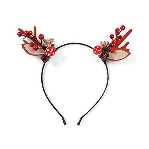 Weihnachtsstirnband, Geweih, Kopfschmuck, Haarnadel, weiblicher Elchhaarball, Haarnadel, Netz-Promi-Accessoires, Neujahrs-Haarschmuck für Erwachsene Kinder (Stirnband +...