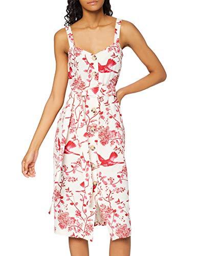 Marchio Amazon - find. Vestito Midi A-Line a Fiori Donna, Rosso (Red), 42, Label: S