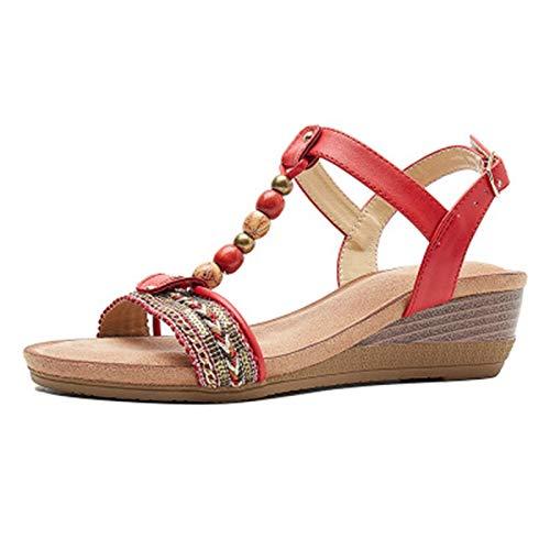 Mujer con Sandalias Zapatillas de Moda de Verano Casual Ligero Zapatos de Senderismo Elegante Moda Roma Bohemia Talón Pendiente Zapato para Playa,Pool (Color : Red, Size : 36)