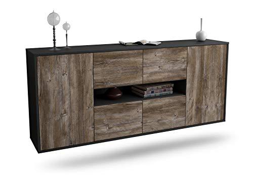 Dekati Sideboard Stamford hängend (180x77x35cm) Korpus anthrazit matt | Front Holz-Design Treibholz | Push-to-Open